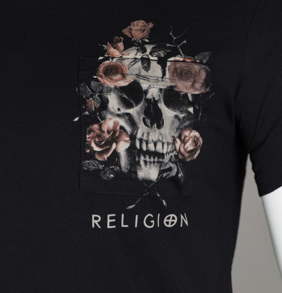 Religion Pocket Print T-Shirt Black