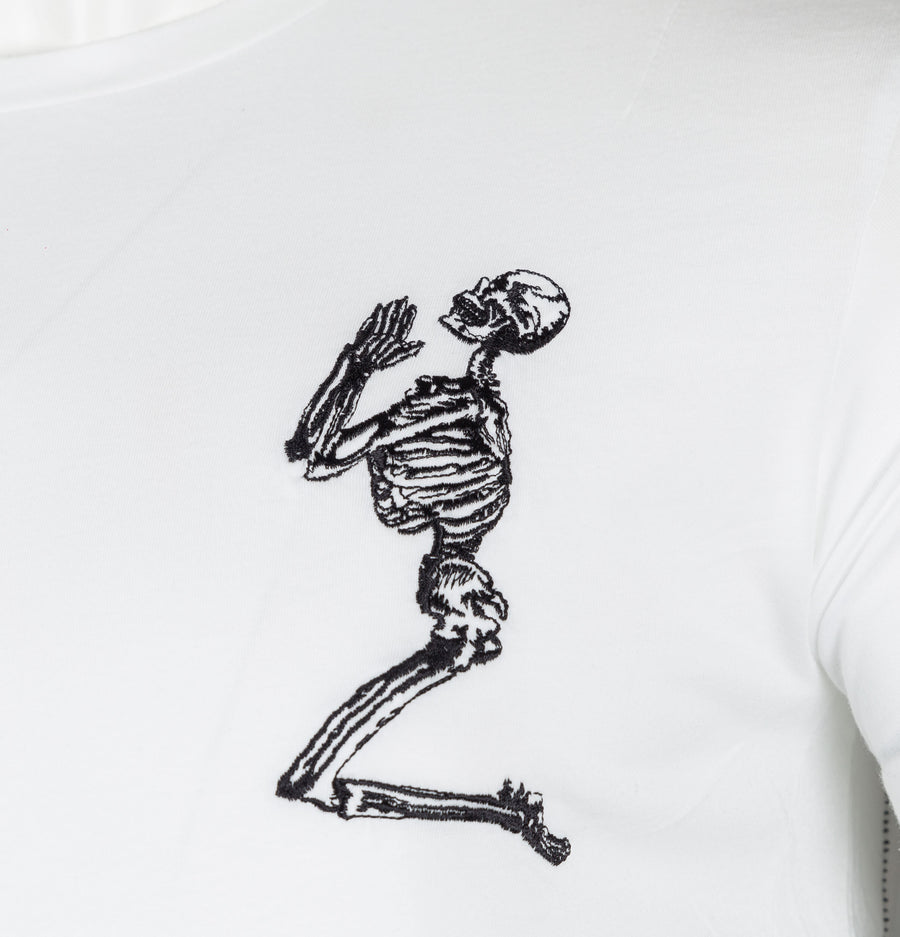 Religion Praying Skeleton Longline T-Shirt White