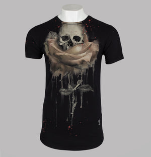 Religion Rose Painting T-Shirt Black