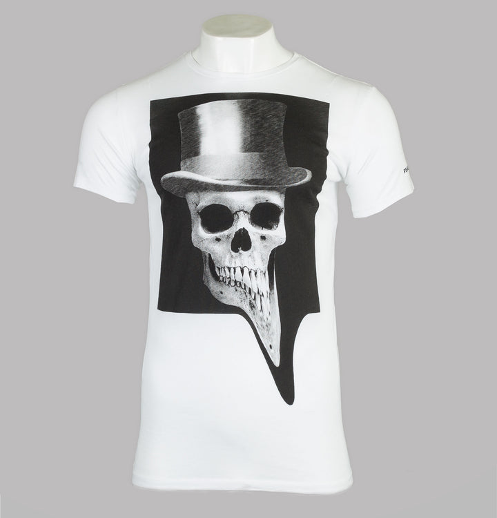 Religion Skeleton Top Hat T-Shirt White