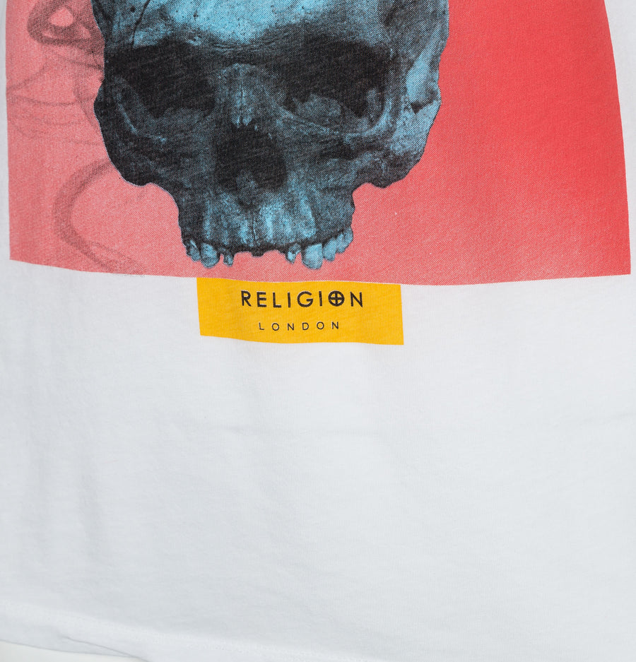 Religion Skull Crow T-Shirt White
