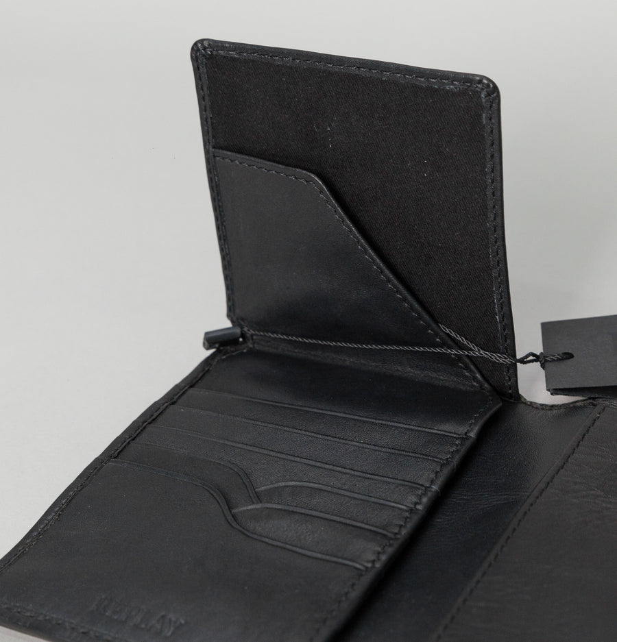 Large Leather Wallet - Black