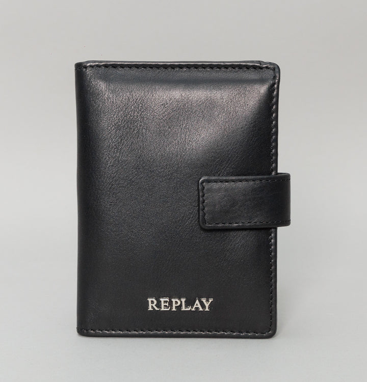 Replay Large Leather Wallet Black