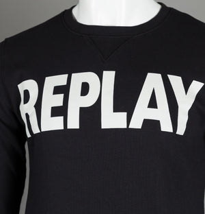 Replay Large Logo Sweatshirt Black