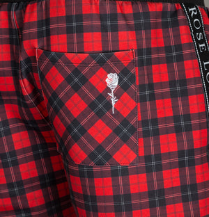 Rose London Taped Check Shorts Red