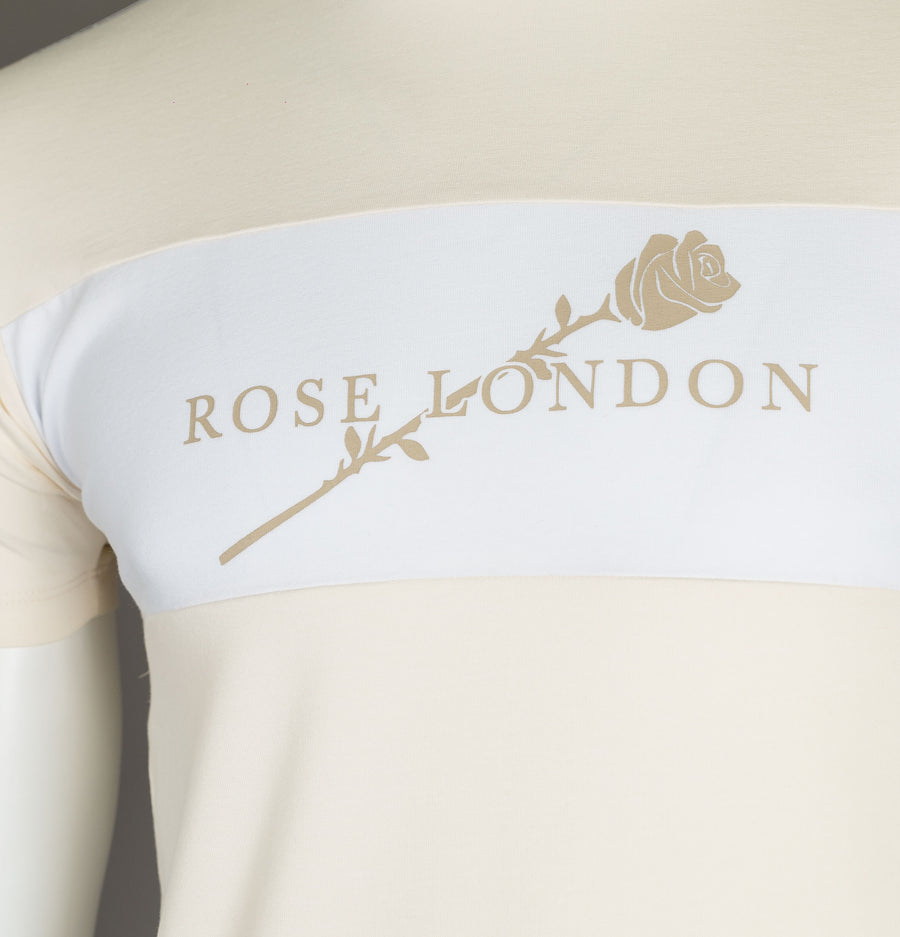 Rose London Taped Panel T-Shirt Stone