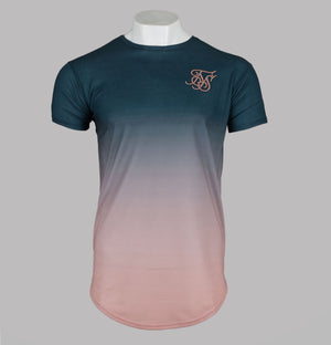 Sik Silk S/S Curved Hem Faded Tee Teal Rose