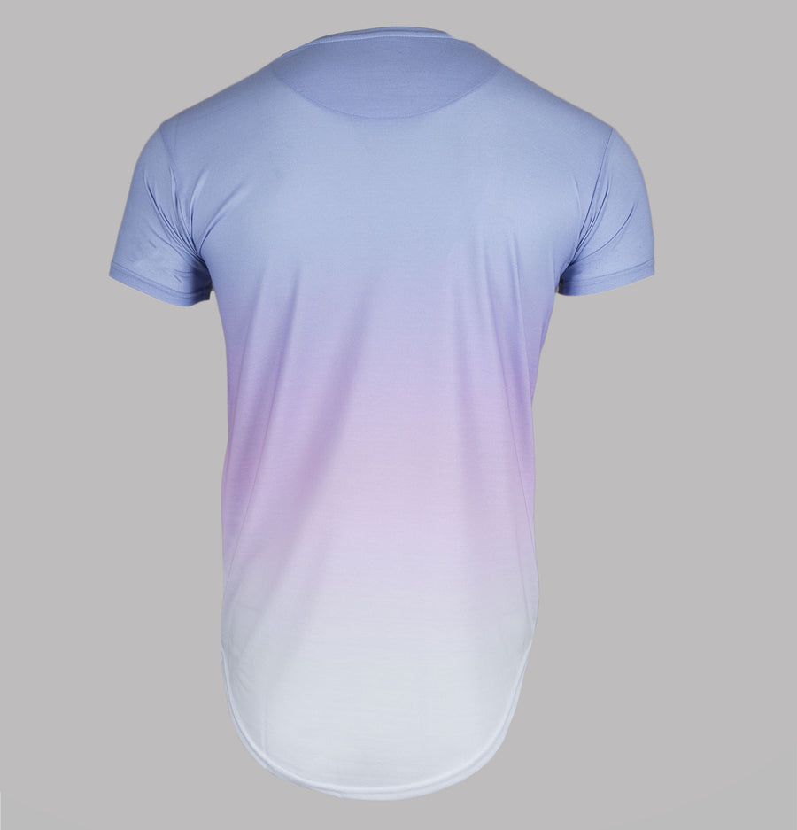 Sik Silk Curved Hem Triple Fade Tee Sky Blue