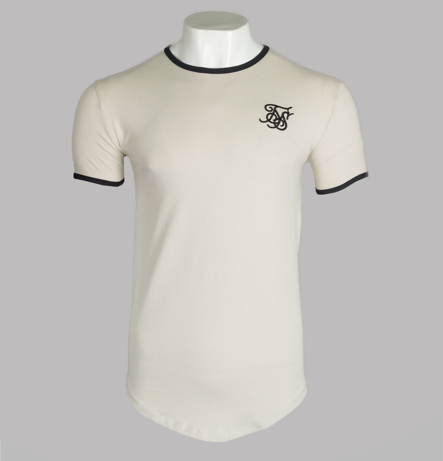 Sik Silk S/S Ringer Gym Tee Light Beige