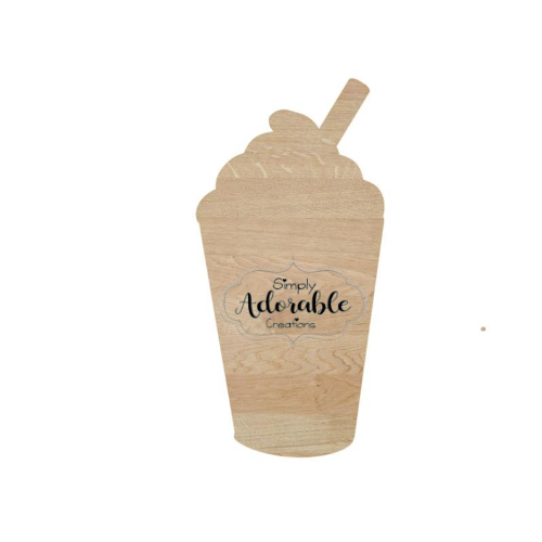 Unfinished Latte Cup Wood Cutout