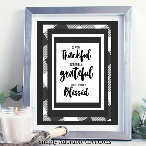 Free Buffalo Plaid Thankful Grateful Blessed Printable