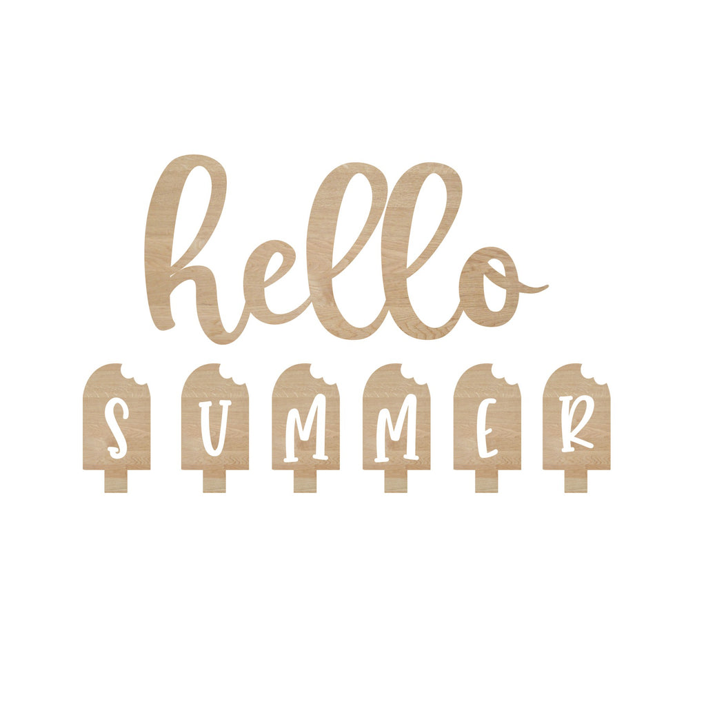 Unfinished Hello Summer Attachment Wood Cutout