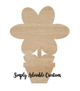 Unfinished Flower Pot Wood Cutout - Simply Adorable Creations