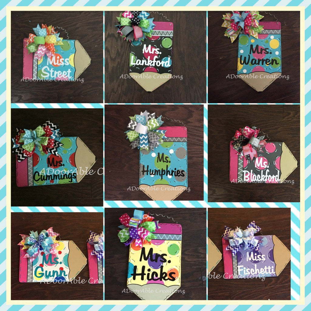 Pencil Door Hanger, Teacher Door Sign - Simply Adorable Creations