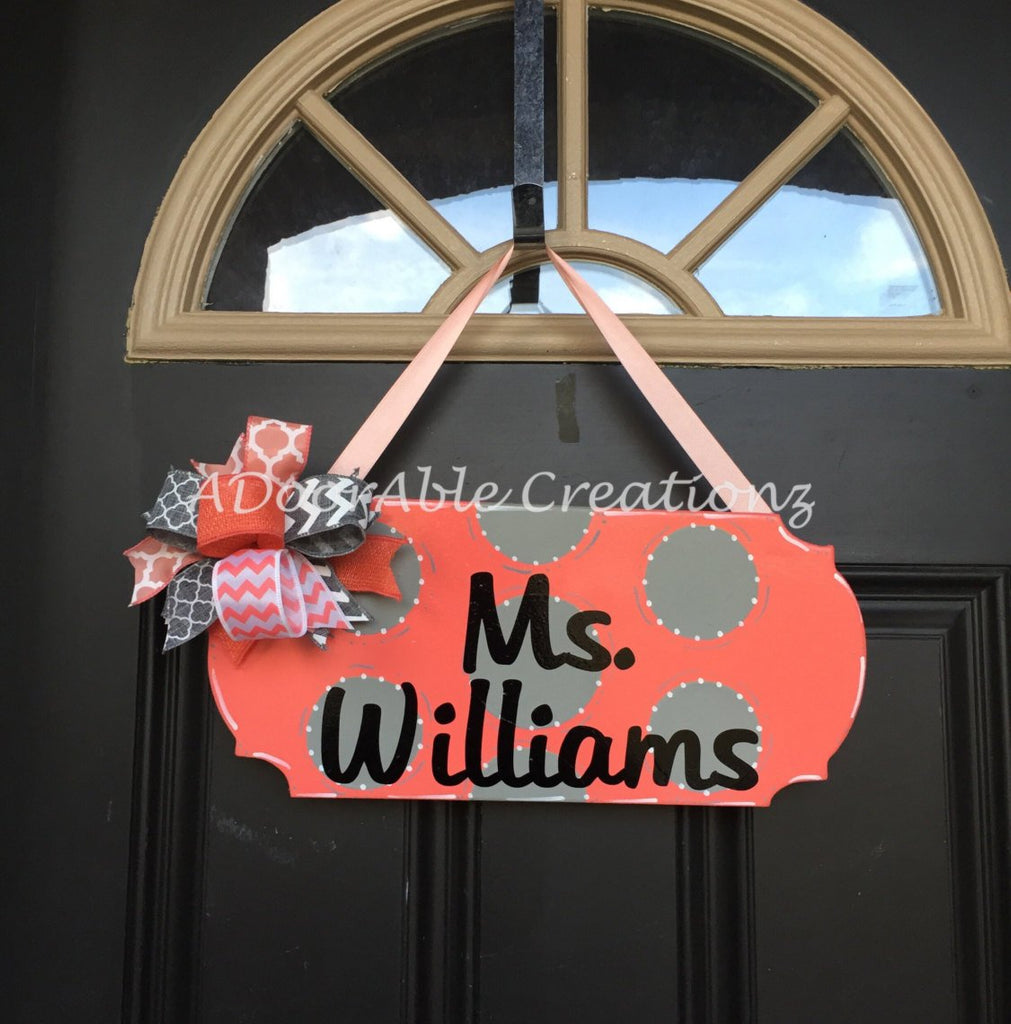 Polka Dot Personalized Teacher Sign Door Hanger - Simply Adorable Creations