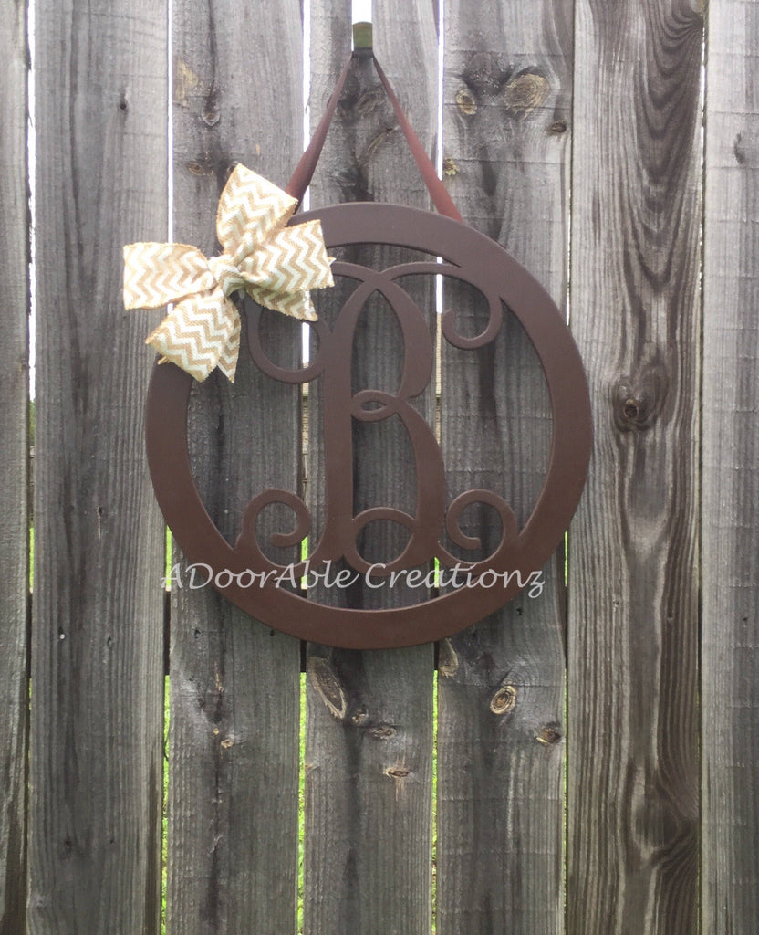 Monogram Circle Door Hanger with Side Bow