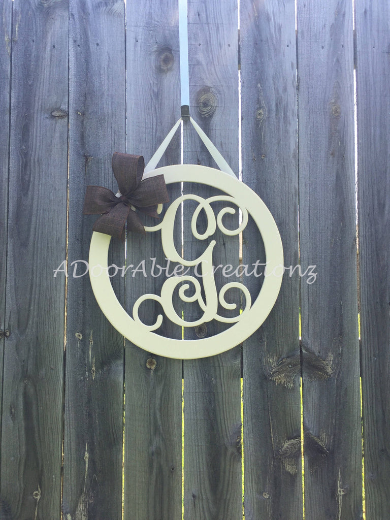 Circle Monogram Door Hanger - Simply Adorable Creations