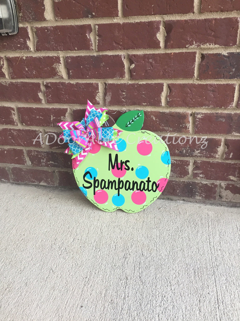 Personalized Apple Teacher Door Hanger - Simply Adorable Creations