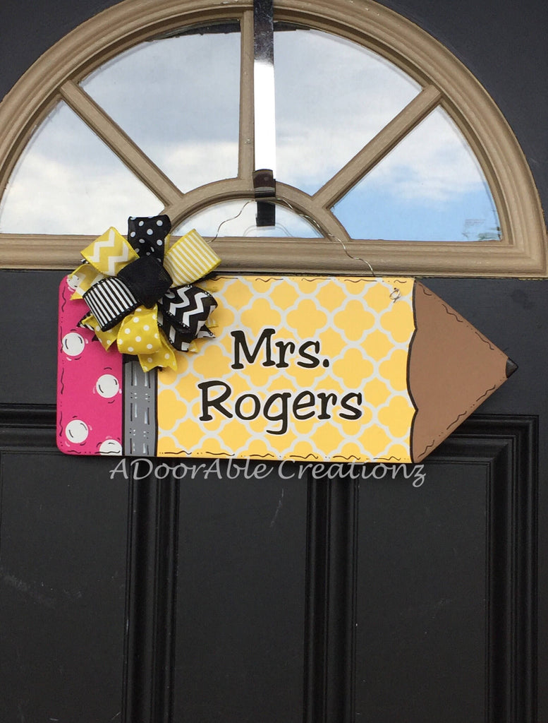 Personalized Quatrefoil Pencil Door Hanger - Simply Adorable Creations