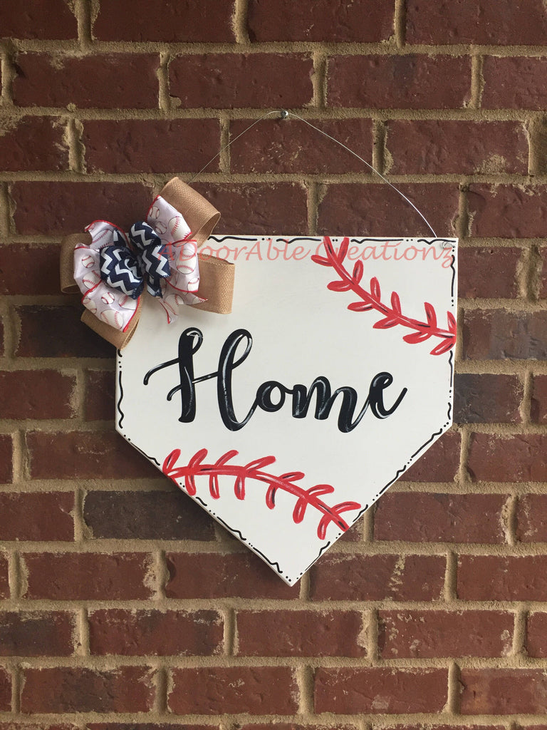 Baseball HOME Plate Door Hanger - Simply Adorable Creations