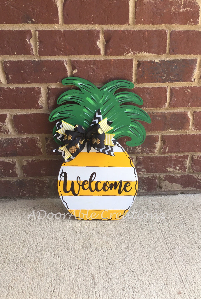 Yellow and White Personalized Striped Pineapple Teacher Door Hanger - Simply Adorable Creations