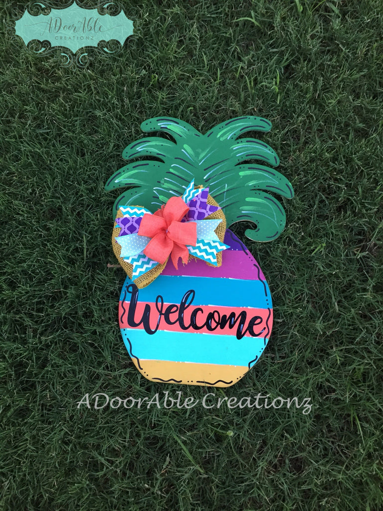 Tropical Pineapple Door Hanger - Simply Adorable Creations