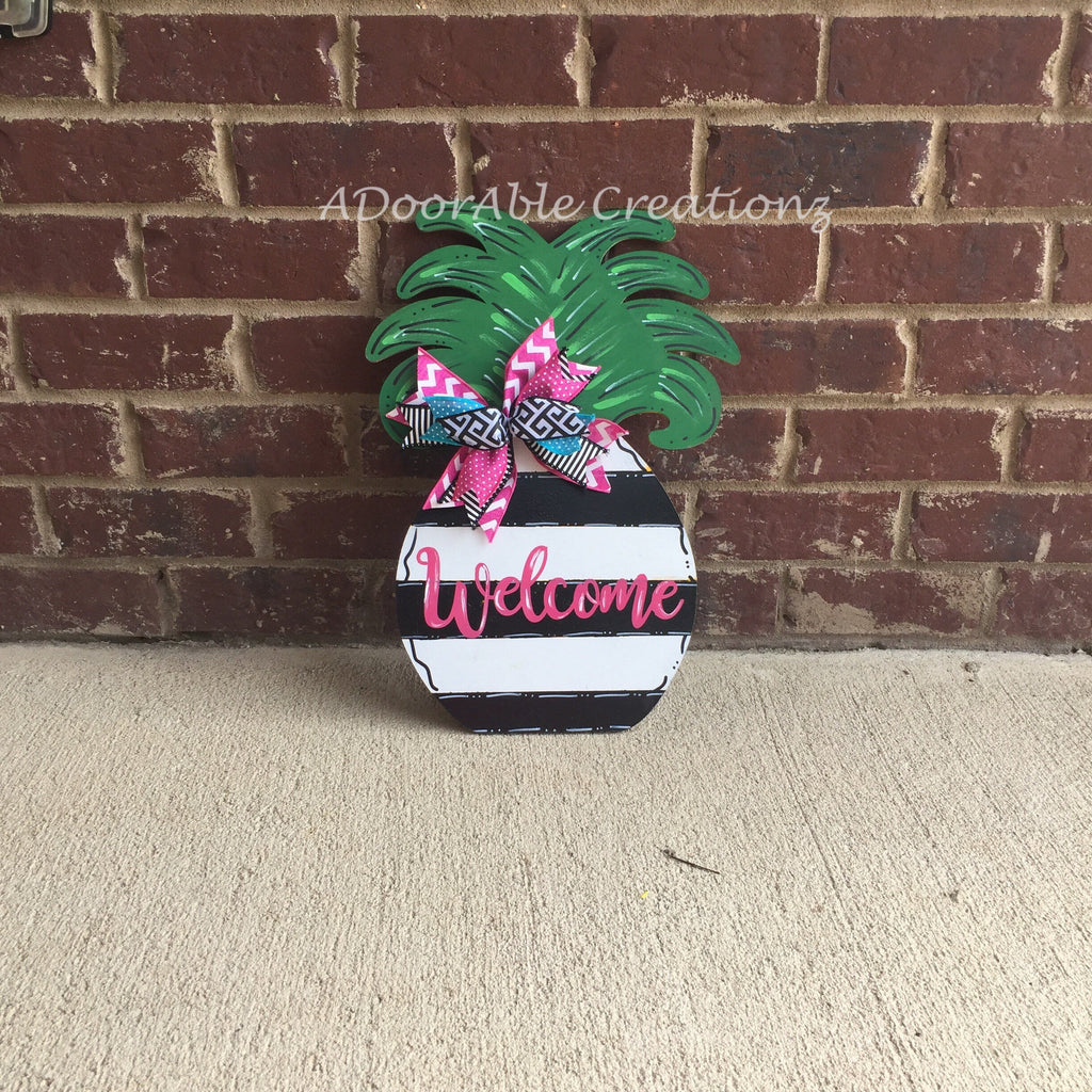 Striped Pineapple Door Hanger - Simply Adorable Creations