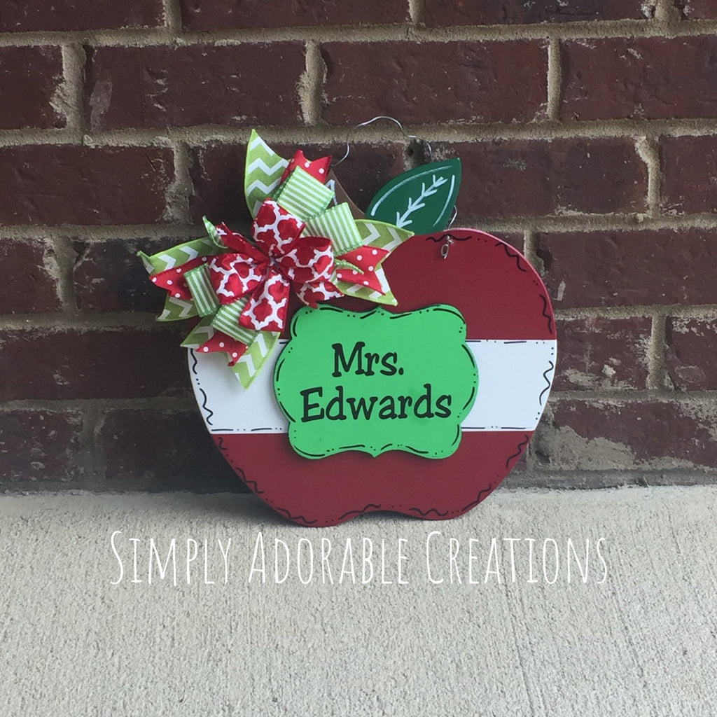 3D Apple Teacher Door Hanger - Simply Adorable Creations