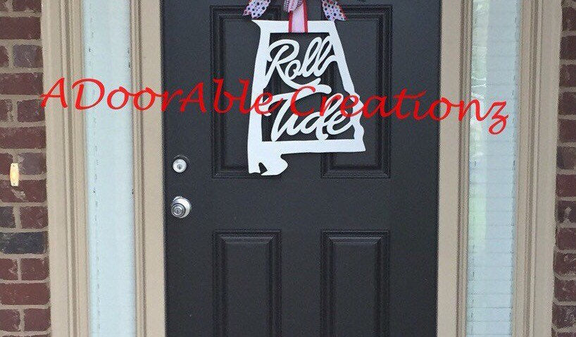 Unfinished DIY Alabama Roll Tide State Door Hanger - Simply Adorable Creations