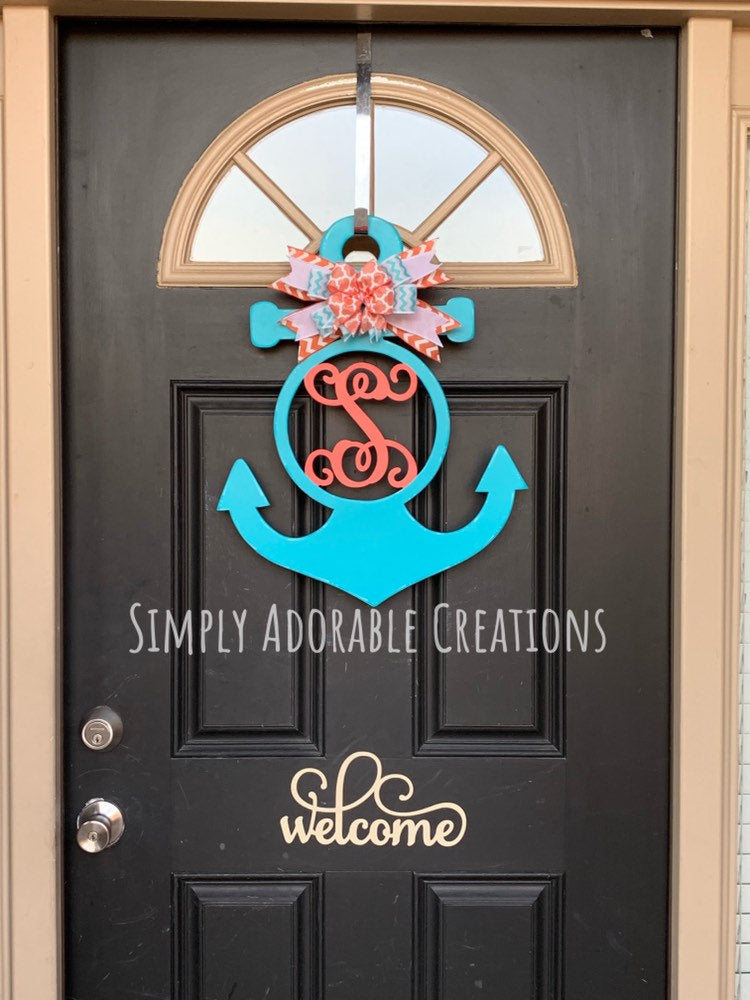 Monogram Circle Anchor Door Hanger - Simply Adorable Creations