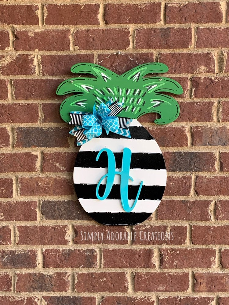 Pineapple Monogram Door Hanger, Striped Sign, Summer Wreath for Front Door, Teacher Classroom Decoration, Gift For New Home - Simply Adorable Creations