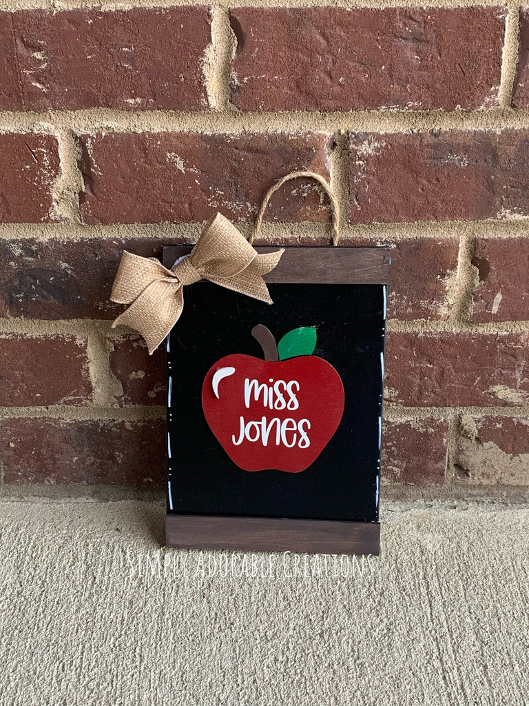 Teacher Apple Wood Scroll Sign, Personalized Classroom Decor, Teacher Name Sign, End of School Appreciation Gift - Simply Adorable Creations