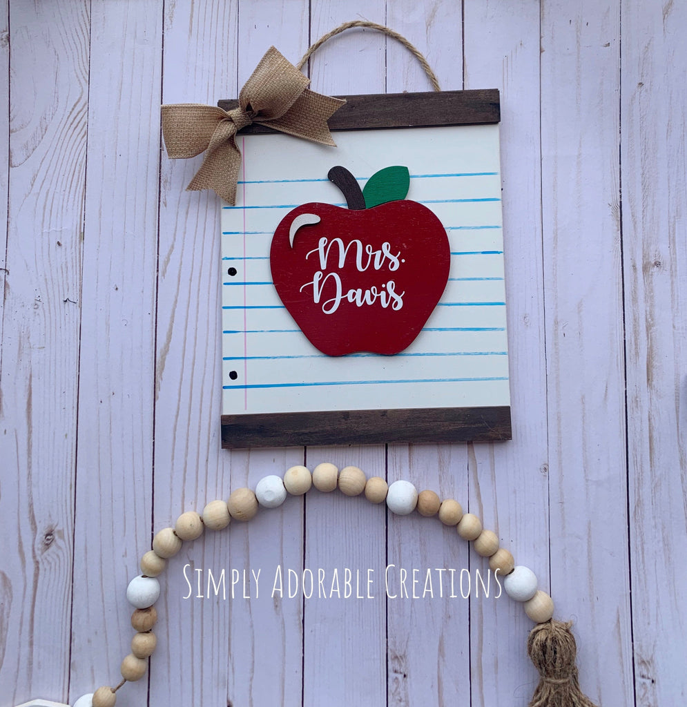 Teacher Paper Classroom Sign, Wood Scroll Sign, Personalized Teacher Name Sign, End of School Appreciation Gift - Simply Adorable Creations