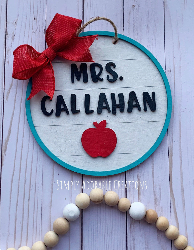 Shiplap Teacher Apple Sign, Personalized Teacher Gift, Educator Appreciation , Classroom Decoration - Simply Adorable Creations