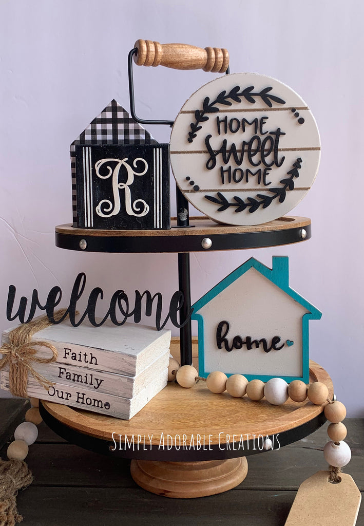 Home Sweet Home Tiered Tray Decor Bundle