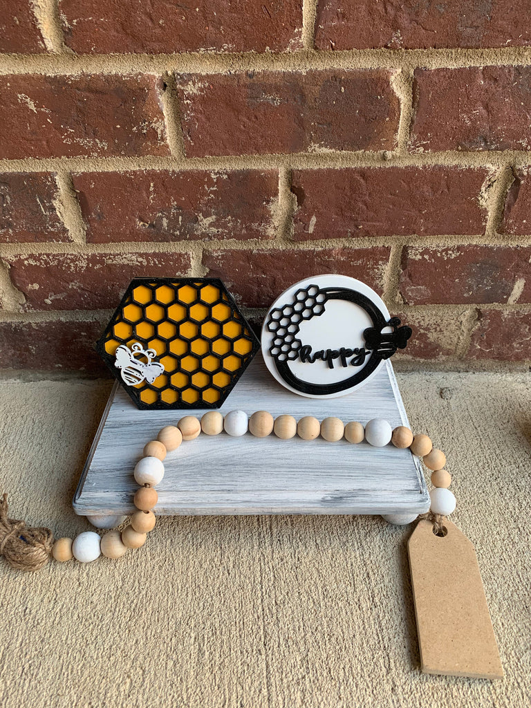 Bee Happy Bee Kind  Honey Comb Tiered Tray Pick 2 Set