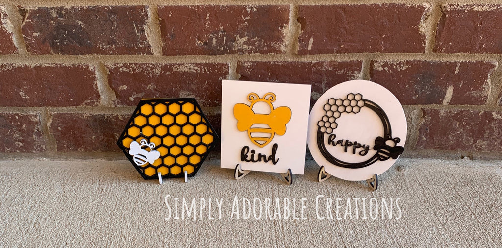 Honey Bee Tiered Tray Bundle, Farmhouse Bee Decor, Honeycomb Sign