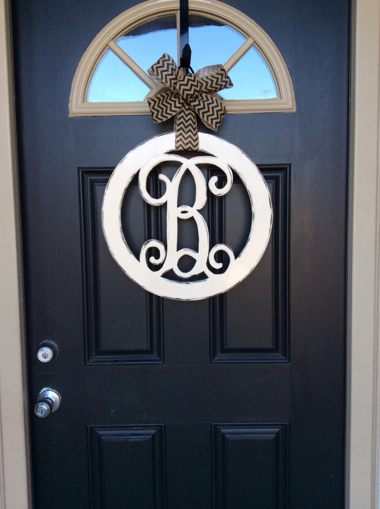Unfinished Circle Monogram Door Hanger, 18 in, Initial Door Hanger, DIY Monogram Letter Door Hanger, Front Door Wreath, Housewarming - Simply Adorable Creations