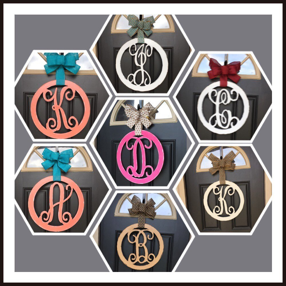 Monogram Circle Door Hanger - Simply Adorable Creations