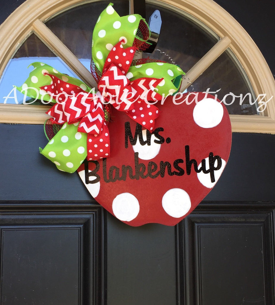 Personalized Teacher Apple Sign Ready to Ship - Simply Adorable Creations