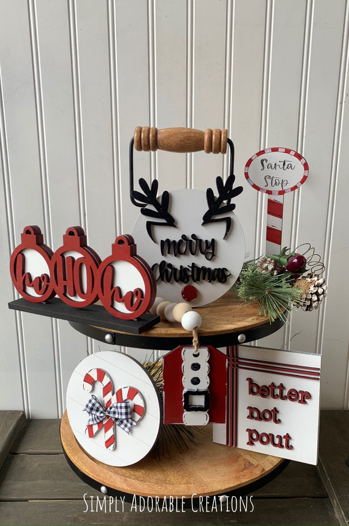 Here Comes Santa Christmas Tiered Tray Bundle