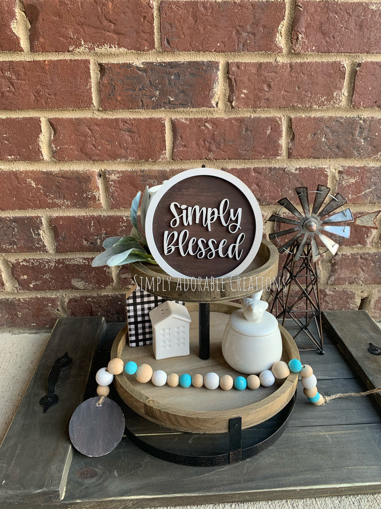 Simply Blessed Tiered Tray Sign