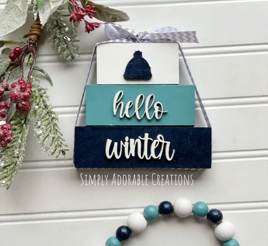 Winter Tiered Tray Decor Bundle
