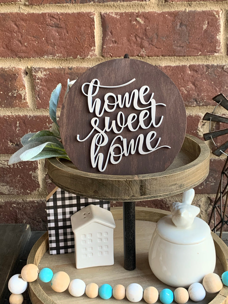 Cursive Home Sweet Home Tiered Tray Sign