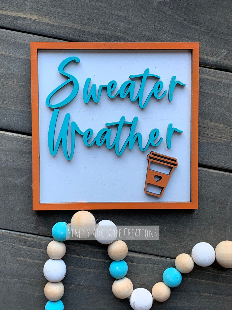 Sweater Weather Tiered Tray Sign
