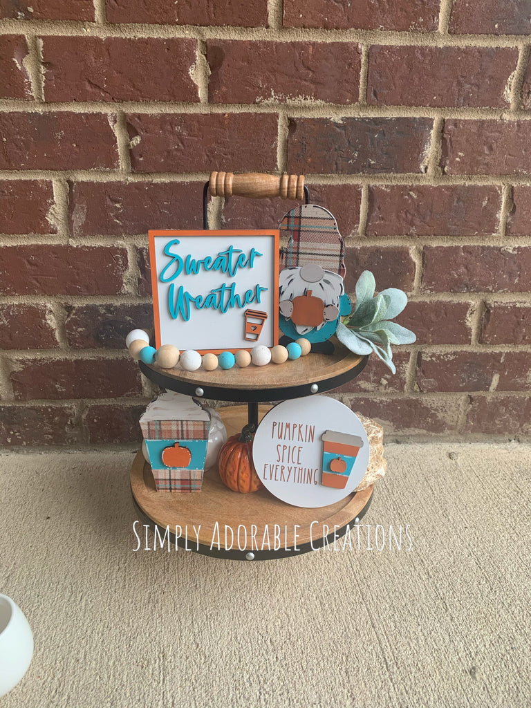 Fall Gnome Pumpkin Spice Tiered Tray Set