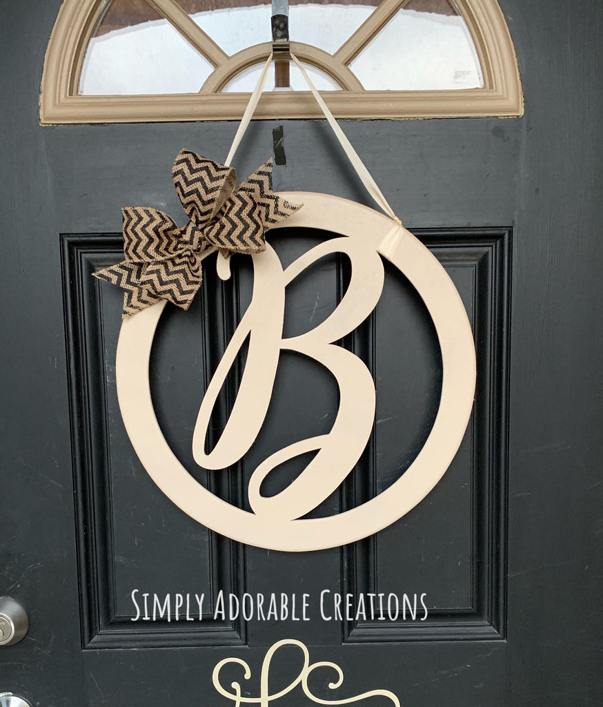 Monogram Script Initial Circle Door Hanger - Simply Adorable Creations