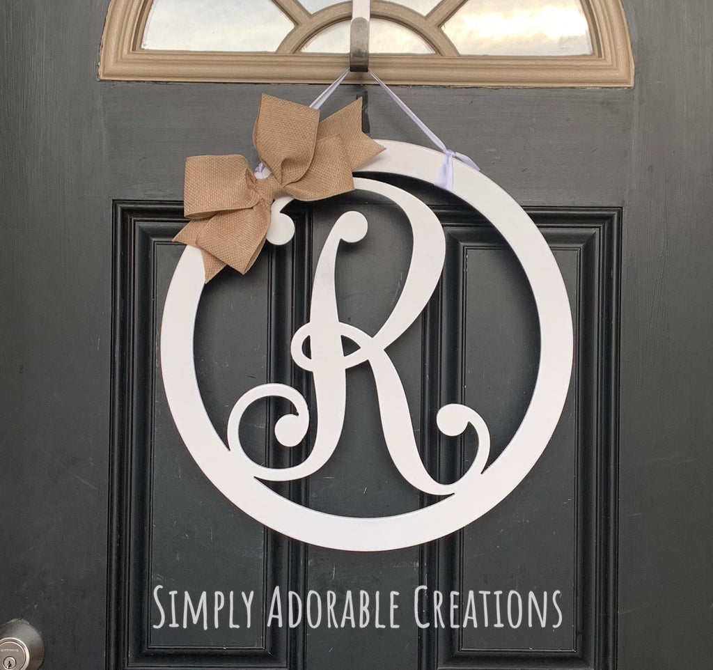 Initial Letter Circle Door Hanger - Simply Adorable Creations