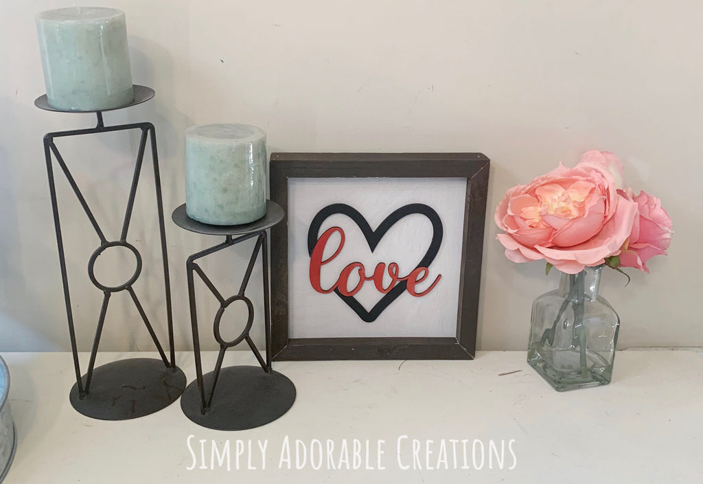 Framed 3d Love Sign - Simply Adorable Creations