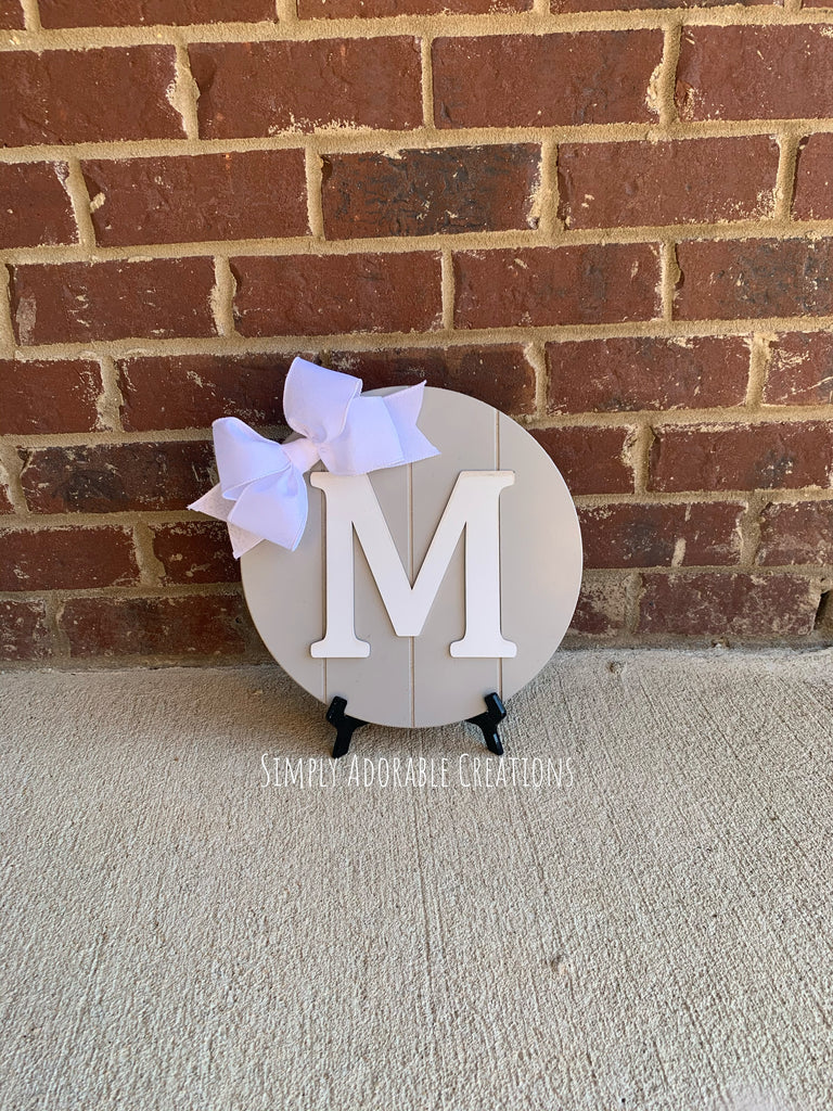 Gray and White Monogram Shiplap Sign Non Cursive Font - Simply Adorable Creations